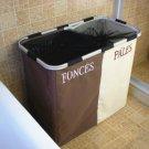 Double Lattice Foldable Laundry Washing Hamper Bin Clothes Basket Storage Bag