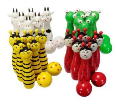 Wooden Bowling Ball Skittle Game Cute Animal Shape For Kids Children Toys Gift