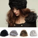 Ladies Fluffy Russian Cossack Hats Rabbit Fur Knitted Ski Cap