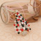 Green Red Christmas Tree Rhinestone Brooch Pin Christmas Gift