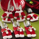 3 Sets Santa Claus Christmas Fork Spoon Cutlery Holder Decor