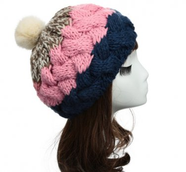 Female Knitted Flat Rabbit Fur Ball Beanie Hat Adjustable Elastic Beret Cap
