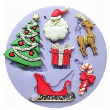 Christmas Silicone Fondant Cake Mold Christmas Tree Gift Deer Sled Mould
