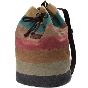 Stripe Canvas Backpack Casual Drawstring Rucksack Students School Bags Satchel
