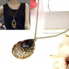 Retro Stone Water Drop Hollow Pendant Heart Necklace Chain