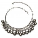 Black Ball Crystal Charm Pendant Collar Choker Statement Necklace