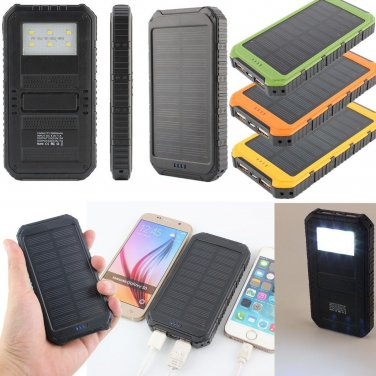 10000mAh Dual USB Output Ports Universal Light Solar Mobile Power Bank Charger For Cellphone Tablet