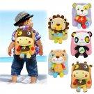 Lovely 3D Animal Backpack Kids Cartoon Plush Shoulder Bag Snap Package