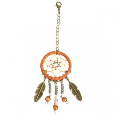 Dream Catcher Crystal Colored Bead Feather Keychain Pendant Accessory
