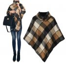 Button Check Woolen Turn Down Collar Women Cape Coat