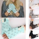 Ladies Arm Knitted Fingerless Gloves Button crochet Lace Mittens