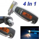4 IN 1 LCD Digital Tire Gauge Safety Hammer Flashlight And Cutter for Car Truck Motorcycle