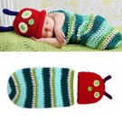 Newborn Baby Crochet Knit Photo Photography Prop Caterpillar Hat Costume Outfits