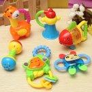 6Pcs a Set Safe Baby Kids Toy Bundle Gift Lovely Animal Teeth Bite Shake Ring Model Handbell Rattles