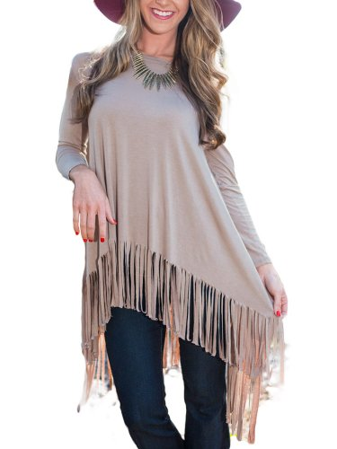 Women Long Sleeve Irregular Knitted Fringed T-Shirt