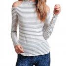 Casual Slim Stripe Long Sleeve Off Shoulder Split