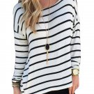 Asymmetrical Loose Casual White Stripe Long Sleeve
