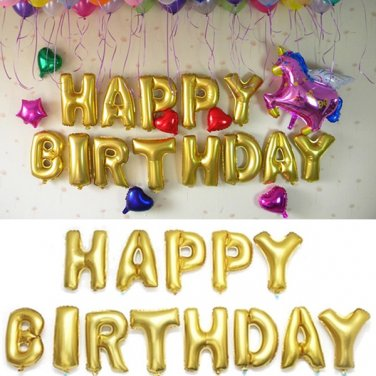 16 Inch Golden Foil Alphabet Balloons Letters Happy Birthday Party Decor