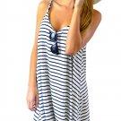 Women Stripe Strap Sleeveless Beach Party Mini Dress