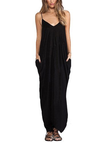 Women Strap Solid Pocket Cocktail Evening Maxi Dress