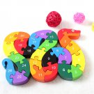 Kids Wooden Block Toys In Alphabet Number Jigsaw Puzzle Snake Shape