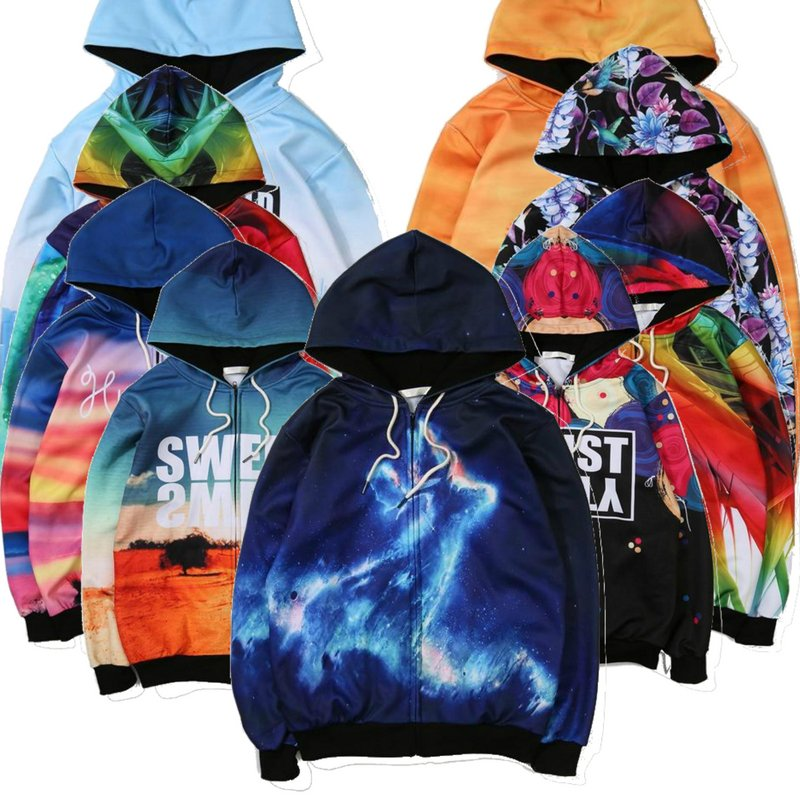 Stylish Outerwear Men 3D Graphic Print Hoodie Zipper Sweater Jacket