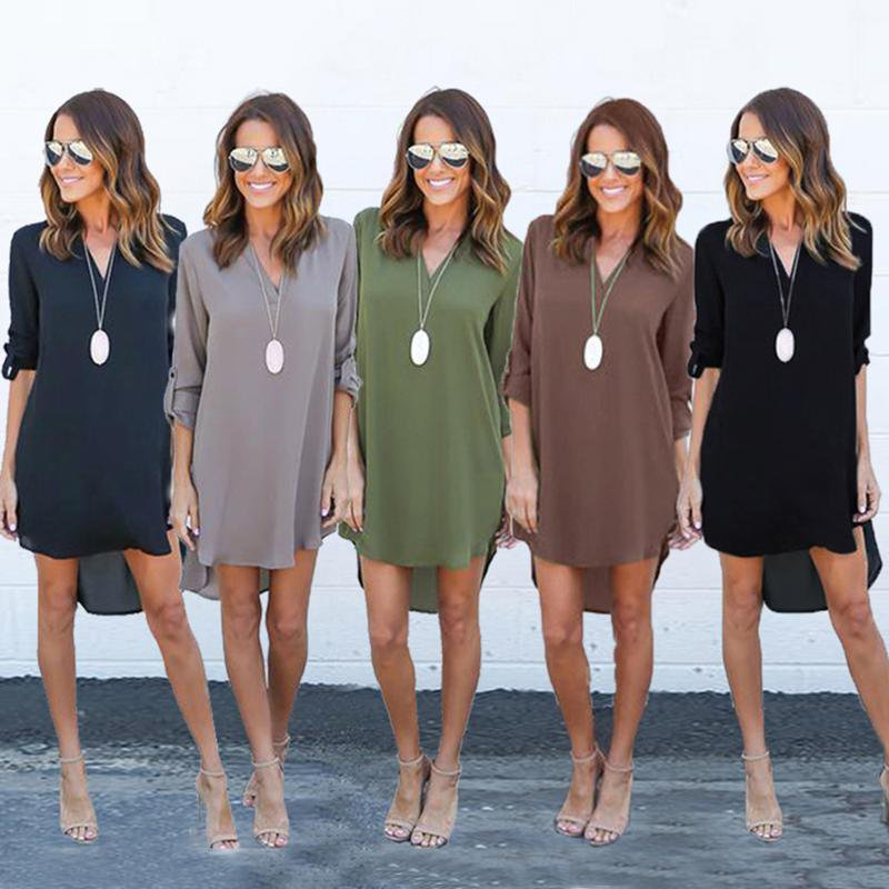 Ladies Casual Loose Chiffon Long Sleeve V-neck Dress For Summer Season