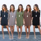 Ladies Casual Loose Chiffon Long Sleeve V-neck Dress For Summer Season