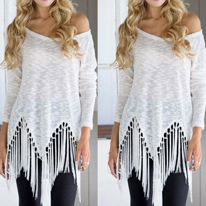 Fashion Women White Tassel Blouse Summer Long Sleeve Shirt Top
