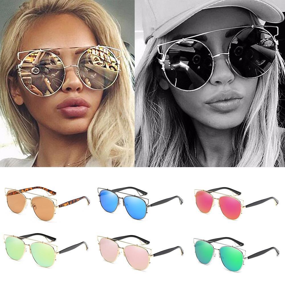 Casual Women's Fashion Colorful Metal Round Box Sunglasses