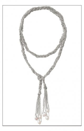 garlicfashion special elegant women fashion Josephine Pearl Lariat Necklace