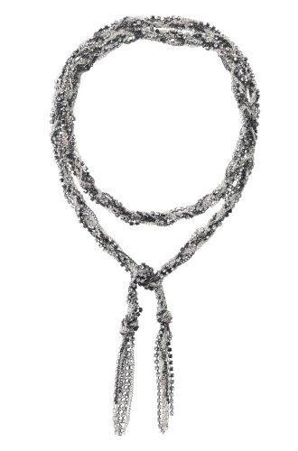 garlicfashion special elegant women fashion Adrienne mixed chain necklace Silver