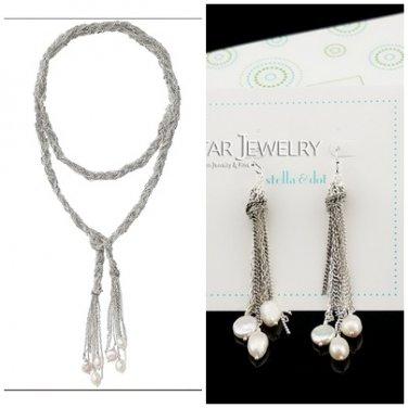 garlicfashion special elegant women fashion Josephine Pearl Lariat Necklace Earrings set