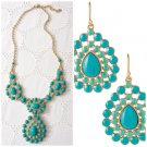 garlicfashion special elegant women fashion Charlize Teardrop turquoise necklace earrings set
