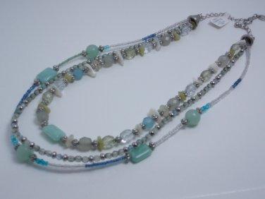 garlicfashion DIY handmade women fashion multi-strand Green glass bead necklace