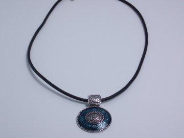 garlicfashion DIY handmade women fashion Regatta Blue corded pendant necklace