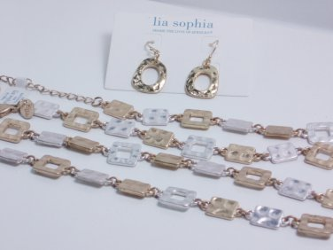 garlicfashion DIY handmade women fashion Rhyme@ Reason necklace Matt gold Silver long necklace earrings set