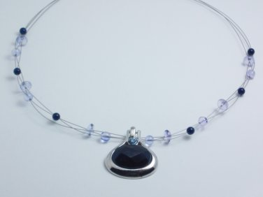 garlicfashion DIY handmade women fashion BAJA blue pendant 3-wired necklace