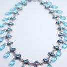 garlicfashion DIY handmade women fashion Fantasia blue cz dangle necklace