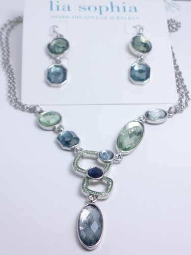 garlicfashion DIY handmade women fashion Slitzer white green necklace earrings set