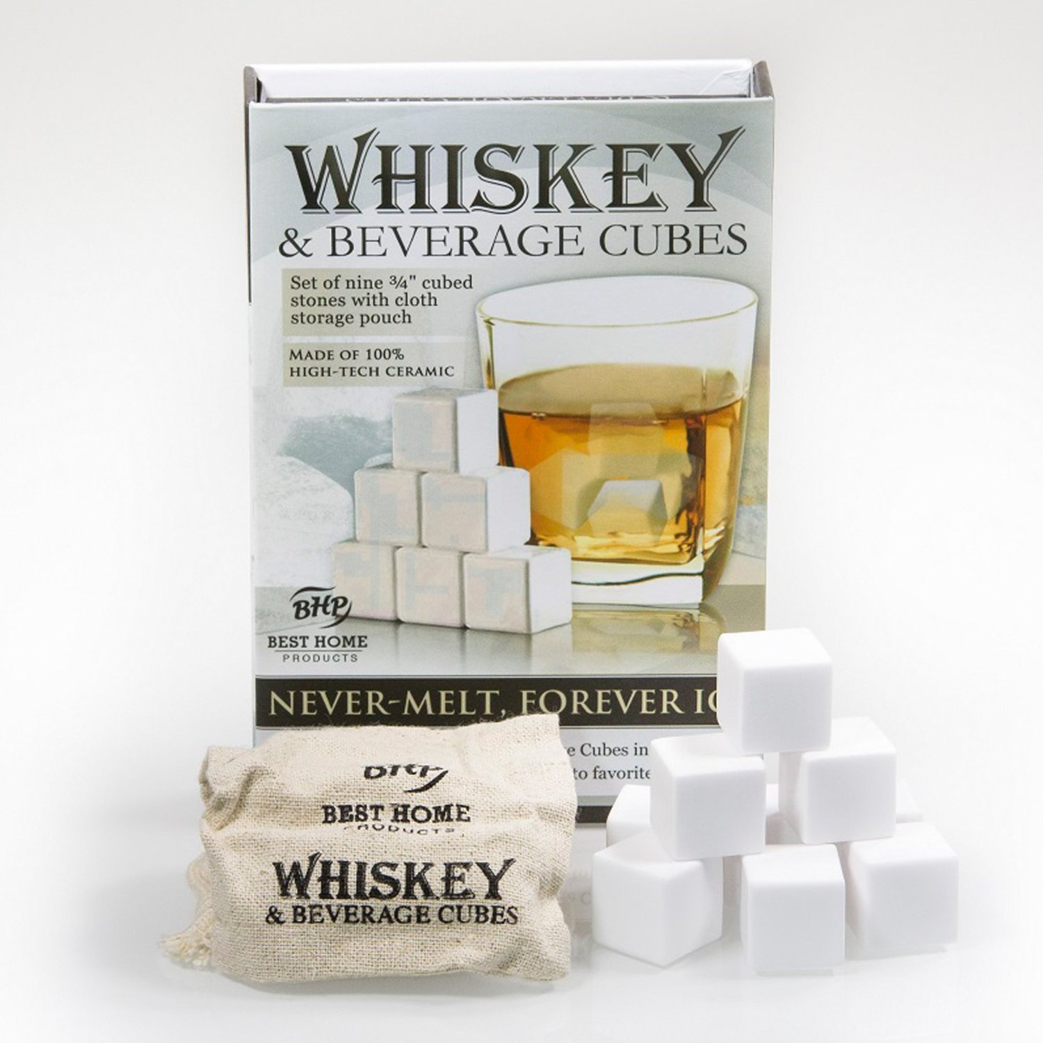 Ceramic Whiskey Stones, Beverage Cubes, Set of 9 with Storage Bag
