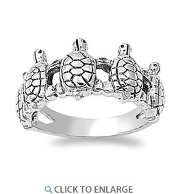Hand-crafted, Sterling Silver Multi-Turtle Ring