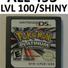 Authentic Pokemon Platinum Game Unlocked Nintendo DS lite DSi XL 2DS 3DS All 493