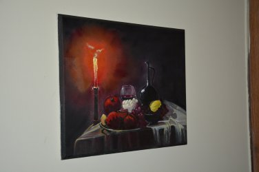 candle oil painting