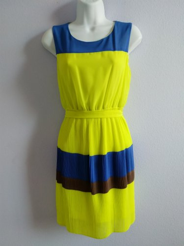 DARLING Pleated Yellow, Blue and Brown Stripe Sleeveless Summer Dress Size S New