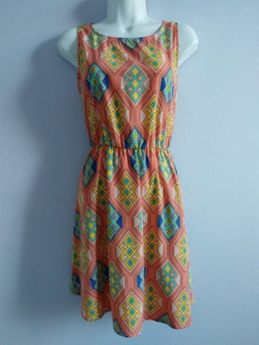LILA Pink Geometric Sleeveless Summer Sun Dress Size S New