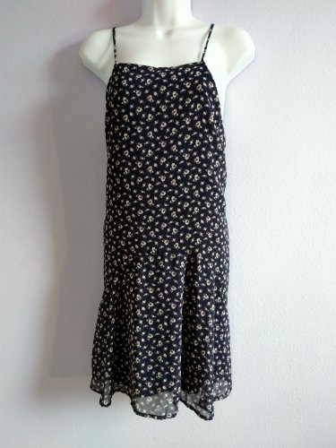 LILA Dark Blue Floral Sleeveless Summer Dress Size L Made in USA  New