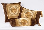 Brown Floral Cushions - 3 PC