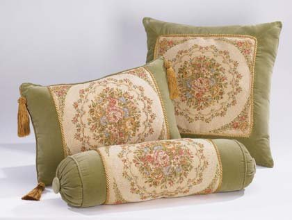 Green Floral Cushions-3 PC