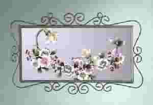 Purple Floral Wall Mirror
